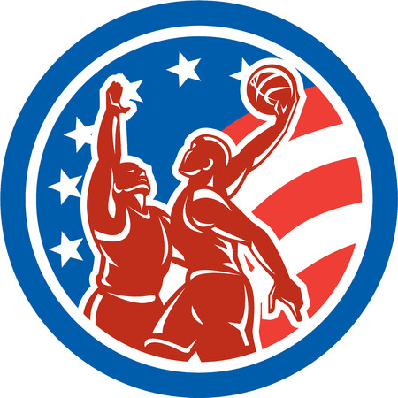 layup: Illustration of american basketball players dunking lay-up shooting and blocking ball set inside circle with stars and stripes in the background done in retro style.