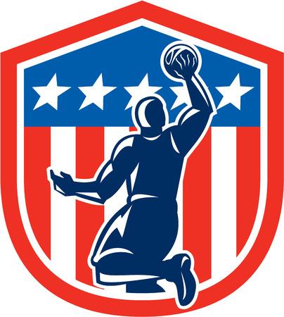 Illustration d'une balle rebondissant joueur de basket de tremper vu de l'arrière placé à l'intérieur bannière étoilée américaine bouclier de drapeau de crête fait dans le style rétro. Banque d'images - 29193158