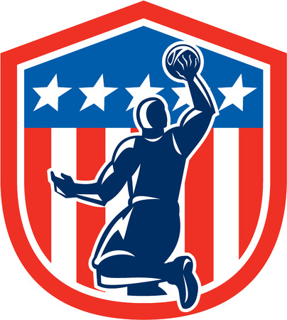 layup: Illustration of a basketball player dunking rebounding ball viewed from the rear set inside American stars and stripes flag shield crest done in retro style.  Illustration