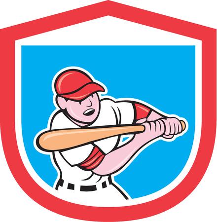 bateo: Ilustraci�n de un jugador de b�isbol bateador bateo con el bate bateador hecho en estilo de dibujos animados conjunto dentro de escudo protector en el fondo aislado.