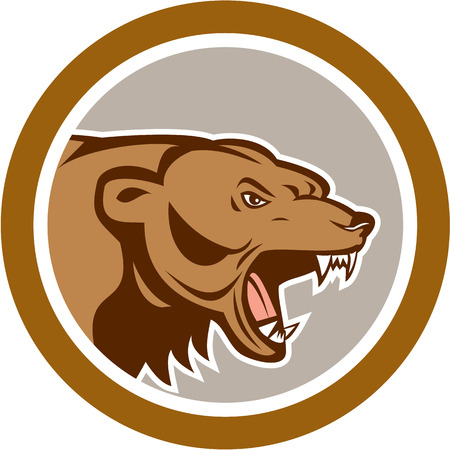 Illustration of an angry grizzly brown bear head viewed from the side set inside circle done in cartoon style on isolated background.  Vector