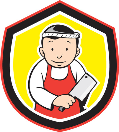 Illustration of a butcher cutter worker holding meat cleaver knife set inside shield crest on isolated background done in cartoon style. Vector