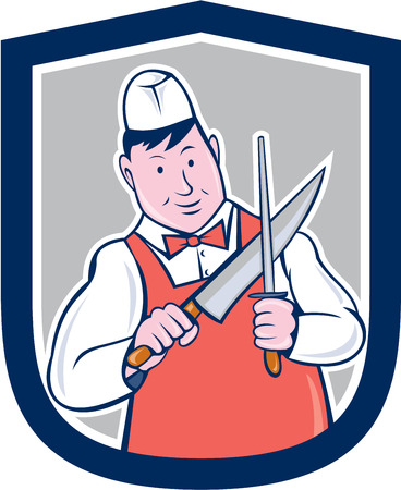 Illustration of a butcher cutter worker holding sharpening knife sharpener set inside shield crest on isolated background done in cartoon style. Vector