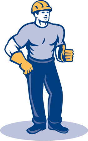thumbsup: Illustration of a construction worker wearing hardhat standing thumbs up facing front done in retro style.