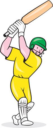 bateo: Ilustraci�n de un jugador de cricket bateador bateo con el bate hecho en estilo de dibujos animados sobre fondo blanco aislado.