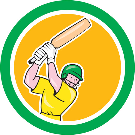 Illustration of a cricket player batsman with bat batting set inside circle done in cartoon style on isolated background. Vector