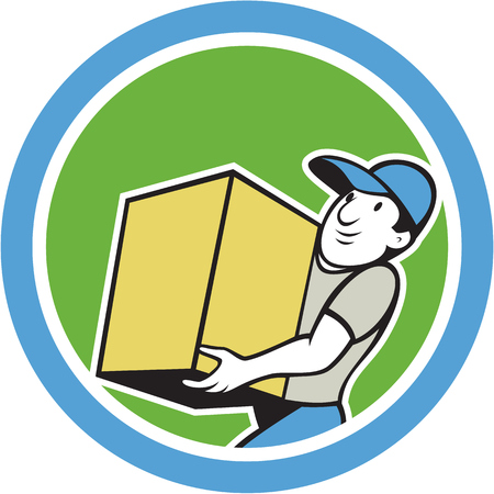 Illustration of a delivery worker delivering carrying parcel package carton box set inside circle on isolated background done in cartoon style. Vector