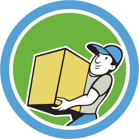 carrying box: Ilustraci�n de un trabajador de salida que entrega la realizaci�n parcela caja de cart�n paquete de conjunto dentro del c�rculo en el fondo aislado hecho en estilo de dibujos animados. Vectores