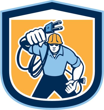 electric plug: Illustrazione di un operaio elettricista con cavo di collegamento elettrico fronte anteriore trova all'interno scudo cresta su sfondo isolato fatto in stile retr�.