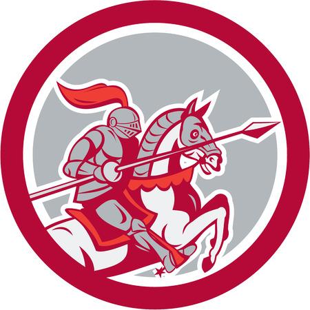 Illustratie van de ridder in volle wapenrusting rijpaard ros met lans gerichte zijde set binnen cirkel op witte achtergrond gedaan in cartoon stijl. Stock Illustratie