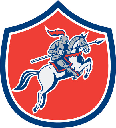 steed: Illustration of knight in full armor riding horse steed with lance facing side set inside shield crest on isolated background done in cartoon style. Illustration