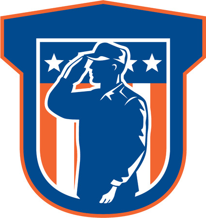 serviceman: Illustration of an American military serviceman salute saluting side view with stars and stripes in background set inside a shield done in retro style.