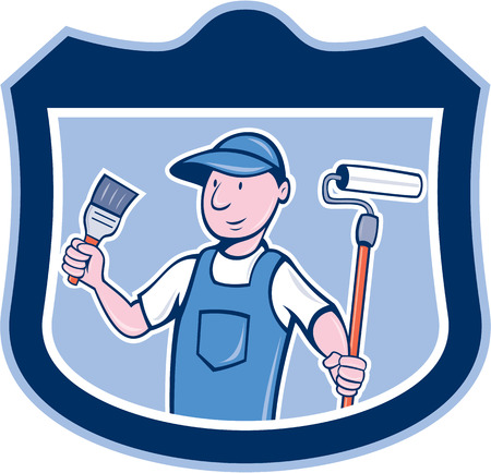 house painter: Illustration of a house painter holding paintbrush and paintroller on isolated background set inside shield crest done in cartoon style.