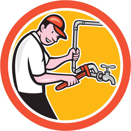 Illustration of a plumber pipe worker holding monkey wrench turning on pipeline flow set inside circle done in cartoon style on isolated background. Vector