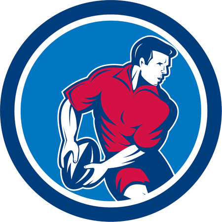 Illustration of a rugby player running passing the ball set inside circle done in retro style. Vector
