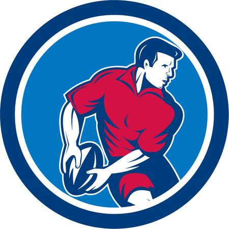 pelota rugby: Ilustración de un jugador de rugby que se ejecuta pasando la bola dentro del círculo hecho en estilo retro. Vectores