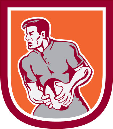 sideview: Illustration of a rugby player passing ball sideview set inside shield crest done in retro style.