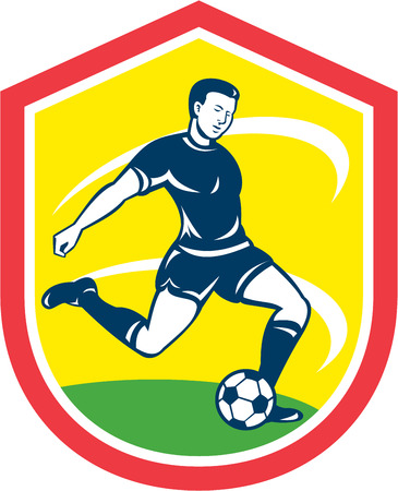 kicking ball: Illustration of a soccer football player kicking soccer ball set inside shield crest done in retro style.