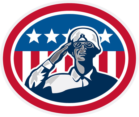 serviceman: Illustration of an african-american soldier serviceman saluting with USA stars and stripes flag in background set inside oval done in retro style.