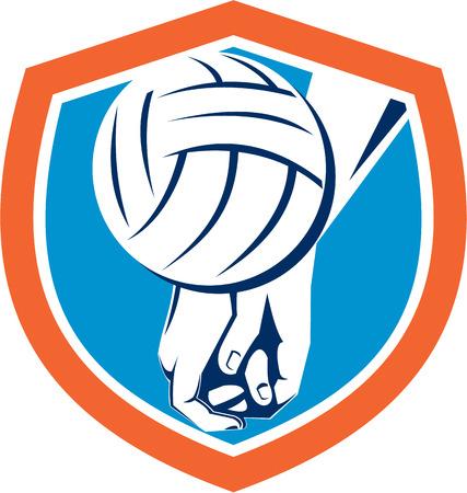 golpeando: Ilustraci�n de una mano que golpea el bal�n de voleibol dentro de escudo escudo hecho en estilo retro. Vectores