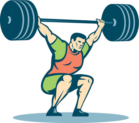 hand weight: Illustration of a weightlifter lifting barbell over head on isolated white background done in retro style.