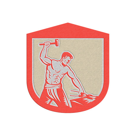 anvil: Metallic styled illustration of a blacksmith worker with sledgehammer striking at anvil set inside crest shield done in retro style.
