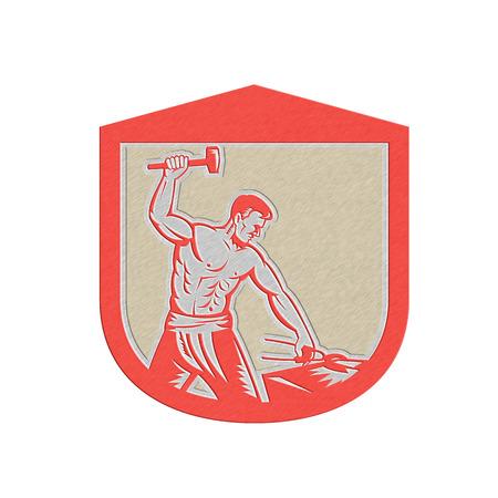 sledgehammer: Metallic styled illustration of a blacksmith worker with sledgehammer striking at anvil set inside crest shield done in retro style.