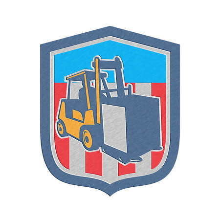 work crate: Metallic styled illustration of a forklift truck and driver at work lifting handling box crate done in retro style inside shield crest shape. Stock Photo