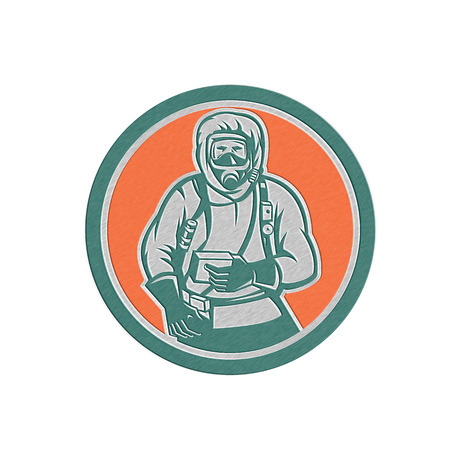Metallic styled illustration of a hazchem worker wearing suit viewed from front set inside circle on isolated background done in retro style.