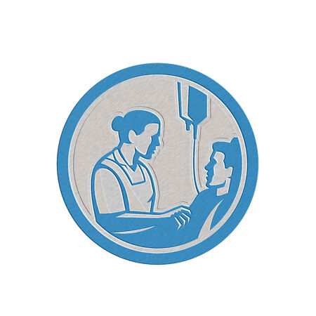 iv: Metallic styled illustration of a nurse tending a sick patient in bed with iv intravenous drip in background set inside circle done in retro style.