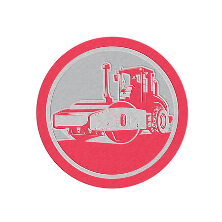 compactor: Metallic styled illustration of road compactor road roller viewed from the front on low angle set inside circle done in retro style.