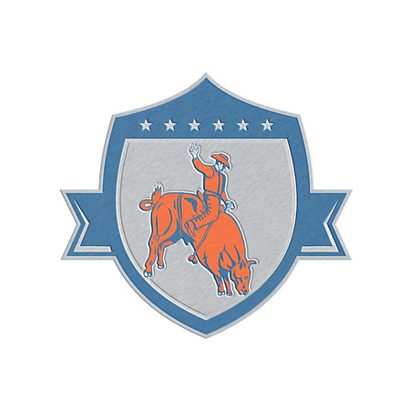 bucking bull: Metallic styled illustration of rodeo cowboy riding bucking bull set inside shield crest on isolated white background done in retro style.