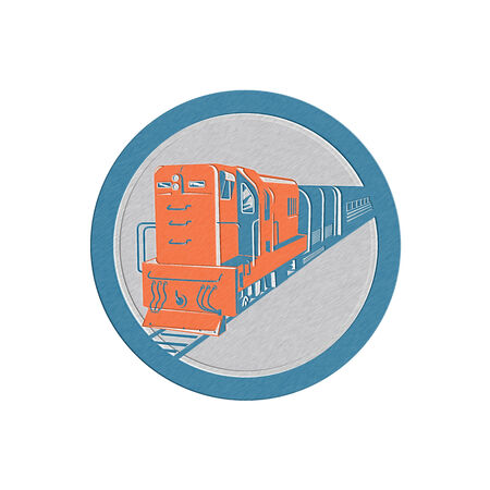 diesel train: Metallic styled illustration of a diesel train viewed from front set inside circle on isolated white background done in retro style.
