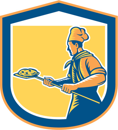 pizza maker: Illustration of a baker pizza maker holding a peel with pizza pie viewed from side set inside shield crest done in retro style on isolated background.