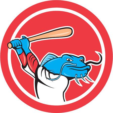 bateo: Ilustraci�n de un jugador de b�isbol bateo bagre conjunto dentro del c�rculo en el fondo aislado hecho en estilo de dibujos animados.