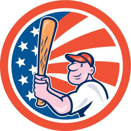 bateo: Ilustraci�n de un jugador de b�isbol bateo americana establece dentro del c�rculo forma con barras y estrellas en el backgroun hecho en estilo de dibujos animados.