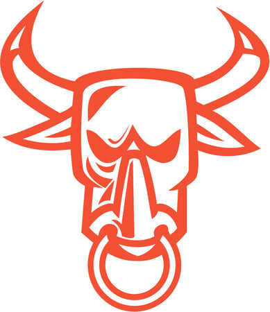 nose ring: Illustration of a bull cow head with nose ring facing front on isolated white background done in cartoon style Illustration