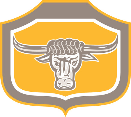 longhorn: Illustration of an bull head snorting facing front set inside crest shield done in retro style on isolated background.  Illustration