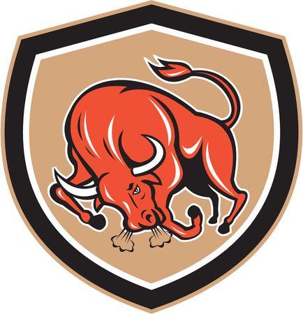 raging: Illustration of an angry raging bull charging viewed from front set inside shield on isolated background done in cartoon style.