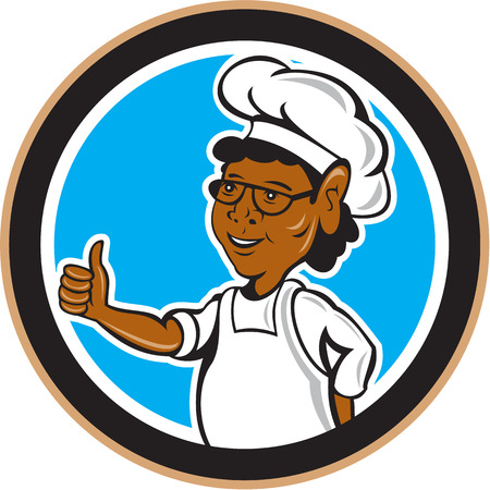 female chef: Illustration of african american chef cook thumbs up looking to the side set inside circle on isolated background done in cartoon style.