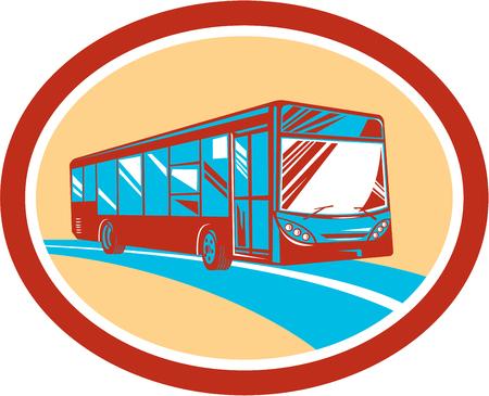 Illlustration d'une navette autocar de tourisme consulté avant ensemble, intérieur, ovale fait dans le style rétro sur fond isolé.