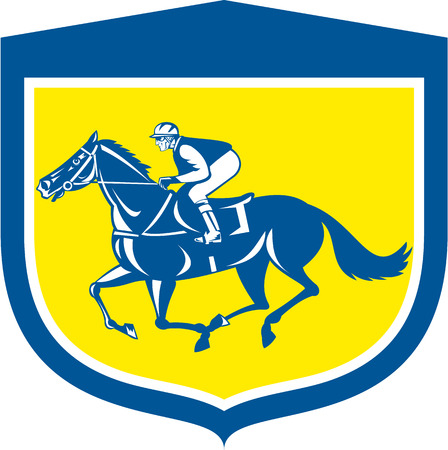 thoroughbred: Illustration of horse and jockey racing viewed from side set inside shield crest shape on isolated background done in retro style.
