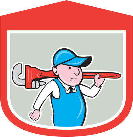 over the shoulder: Illustration of a plumber holding big monkey wrench over shoulder set inside shield crest done in cartoon style on isolated background.