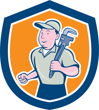 Illustration of a plumber holding monkey wrench on shoulder set inside shield crest done in cartoon style on isolated background. Vector