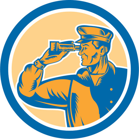 sea side: Illustration of a fisherman sea captain with binoculars facing side set inside circle on isolated background done in retro style.  Illustration