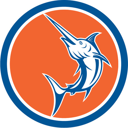 pez espada: Ilustraci�n de un pez espada marlin azul saltando conjunto dentro del c�rculo en el fondo aislado hecho en estilo de dibujos animados.