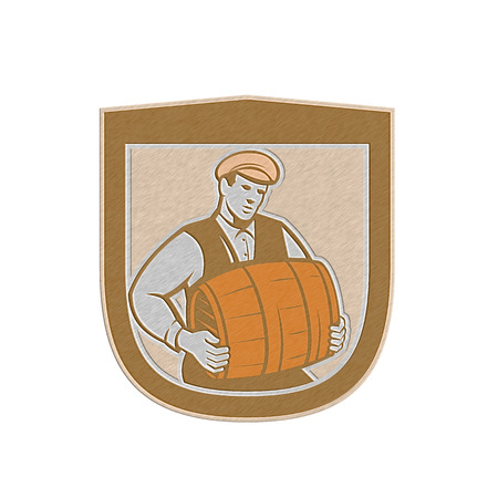 barkeeper: Metallic styled illustration of a bartender worker carrying keg set inside shield crest on isolated white background done in retro style.  Stock Photo