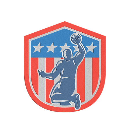 rebounding: Metallic styled illustration of a basketball player dunking rebounding ball viewed from the rear set inside American stars and stripes flag shield crest done in retro style.
