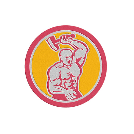 sledgehammer: Metallic styled illustration of a blacksmith striking with sledgehammer set inside circle on isolated background done in retro style. Stock Photo