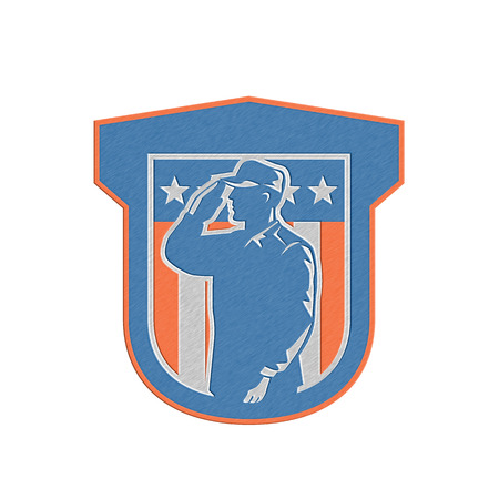 serviceman: Metallic styled illustration of a military serviceman salute saluting side view with stars and stripes in background set inside a shield done in retro style.